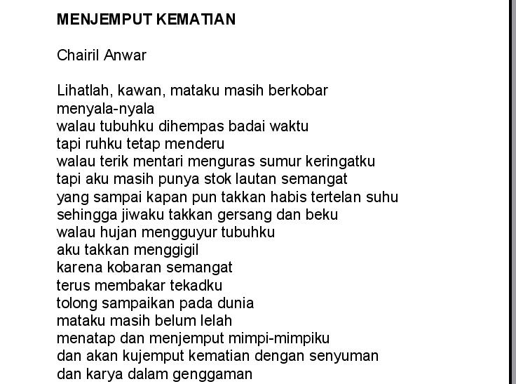 Contoh Kata Puisi Kematian Dari Chairil Anwar